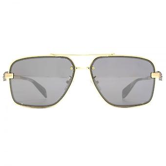 Alexander McQueen Iconic Skull Aviator Sunglasses In Gold Silver Mirror