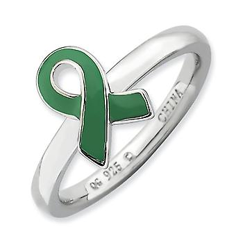 Sterling Silver Polished Rhodium-plated Stackable Expressions Green Enameled Awareness Ribbon Ring - Ring Size: 5 to 10