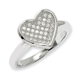 Sterling Silver Pave Rhodium-plated and Cubic Zirconia Fancy Heart Ring - Ring Size: 6 to 8