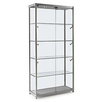 Silver Glass Display Cabinet with 10 Lights - 1000mm