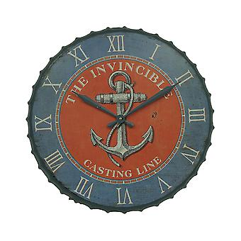Blue and Orange Nautical Anchor 23 inch Bottle Cap Wall Clock