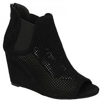 Spot On Womens/Ladies Punched High Wedge Peeptoe Boots