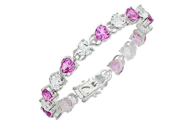 Affici Sterling Silver Tennis Bracelet 18ct White Gold Plated with Pink Heart Cut CZ Gems
