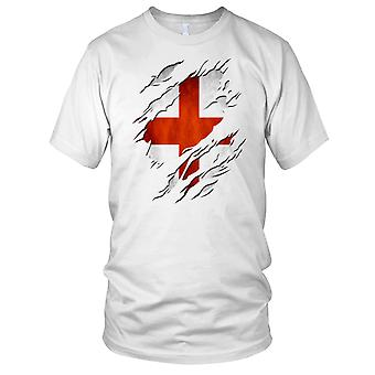 George Cross England Fahne Riss Effekt Design Damen T Shirt