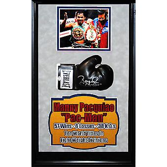 Manny Pacquio Signed Boxing Glove - Framed Collage