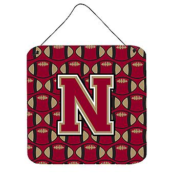 Letter N Football Garnet and Gold Wall or Door Hanging Prints
