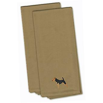 Airedale Terrier Tan Embroidered Kitchen Towel Set of 2