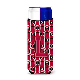 Letter L Football Crimson and White Ultra Beverage Insulators for slim cans