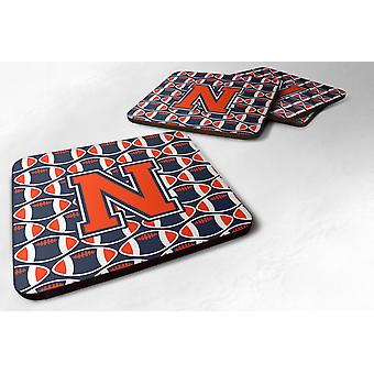 Set of 4 Letter N Football Orange, Blue and white Foam Coasters Set of 4