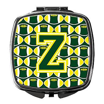 Letter Z Football Green and Yellow Compact Mirror