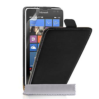 Caseflex Microsoft Lumia 532 Real Leather Flip Case - Black