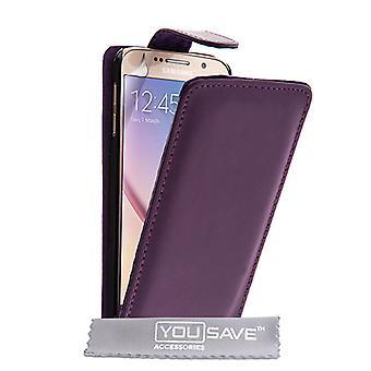 Samsung Galaxy S6 Leder-Effekt Flip Case - lila