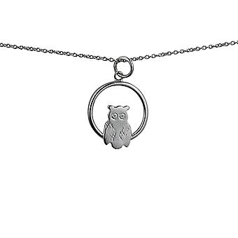Silver 18x19mm Owl in a circle Pendant with rolo Chain 14 inches Only Suitable for Children