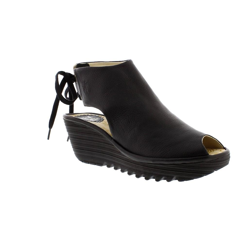 Fly London Yuzu - Black Mousse (Leather) Womens Heels