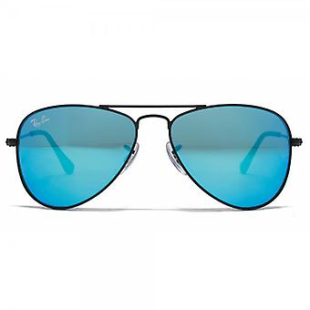 Ray-Ban Junior Aviator Sunglasses In Matte Black Blue Mirror