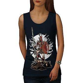 Sparta Warrior Fantasy Women NavyTank Top | Wellcoda