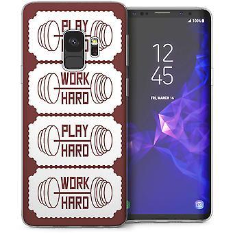 Samsung Galaxy S9 werk Hard Play Hard Slogan TPU Gel geval-Brown