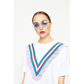 Freyrs Clear Round Perspex Sunglasses With Blue Frame