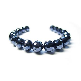 Strand 70+ Blue/Black Czech Crystal Glass 8mm Faceted Round Beads GC12405-2