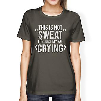 Fat Crying Womens Cool Grey Cool Cotton T-Shirt Funny Workout Shirt