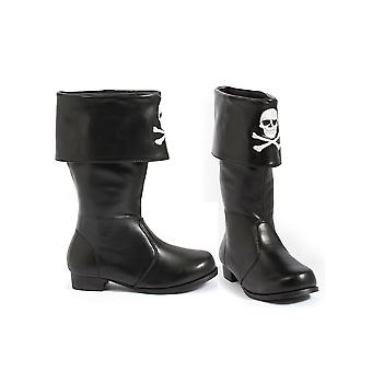 Ellie Shoes E-101-Patches 1 Heel Children Pirate Boot with Embroidered Skull