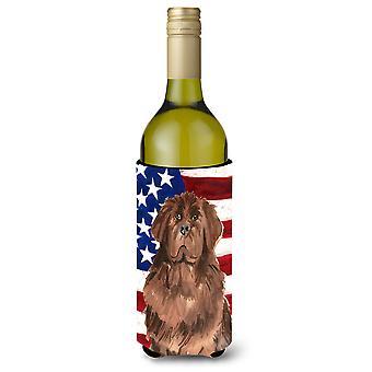 Patriotic USA Newfoundland Wine Bottle Beverge Insulator Hugger
