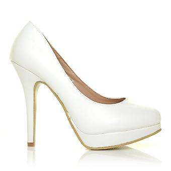EVE White PU Leather Stiletto High Heel Platform Court Shoes