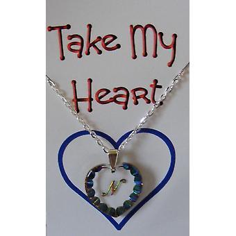 Heliotrope Initial Heart Crystal Pendant - N