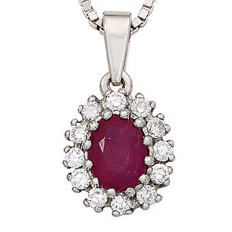 Ruby pendant 925 sterling silver rhodium plated 12 cubic zirconia 1 Ruby Red