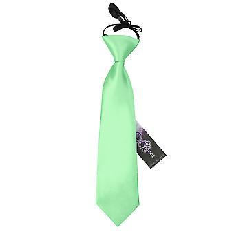 Menthe verte plaine Satin élastique cravate pour les garçons