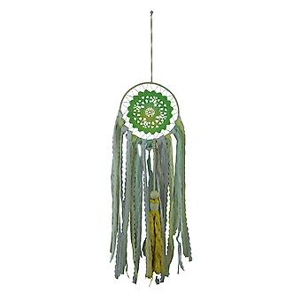 Green Vintage Boho Macrame and Lace Ribbon Dream Catcher