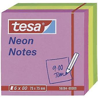Tesa® Neon Notes, 6 x 80 Sheets Pink/Yellow/Green 75 x 75 mm