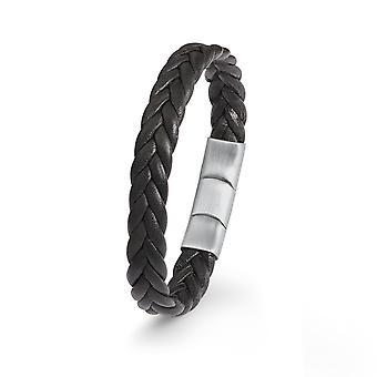 s.Oliver joia mens pulseira inoxidável aço couro preto 2022644