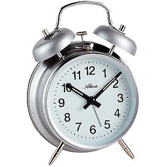 Atlanta 1053/19 mekanisk alarm klokke vækkeur twin Bell vækkeur grå