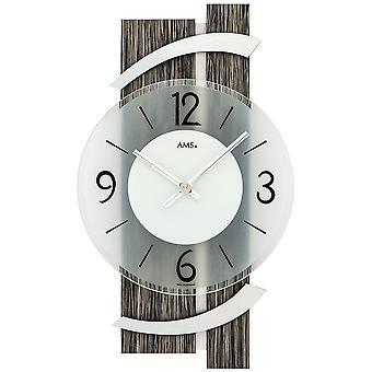 AMS 9547 parete orologio al quarzo analogico moderni nera in legno finitura grigio alluminio