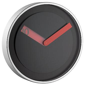 Wall clock of black red hand stainless steel glass quartz wall clock modern