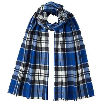 Johnstons of Elgin Strathclyde Extra Fine Tartan Scarf - Blue/White/Grey