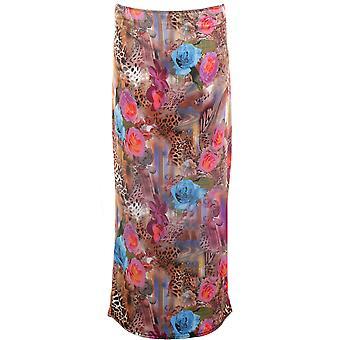 Ladies Women's Leopard Rose Wave Cap Sleeve Crop Top Midi Pencil Skirt