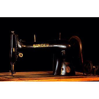 Antikke Singer symaskin på tre regjering plakat ut av Vintage kolleksjon
