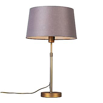 QAZQA Table Lamp Parte Bronze with Brown Grey Shade