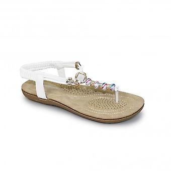 JLH879 Murana Ladies Jewelled Padded Elastic Toe Post Thong Beaded Sandal