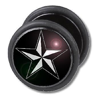Gefälschte Cheater Ohr Stecker, Ohrring, Körperschmuck, nautischen Stern