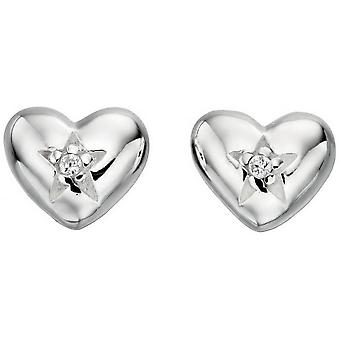 Beginnings Cubic Zirconia Heart and Star Stud Earrings - Silver/Clear