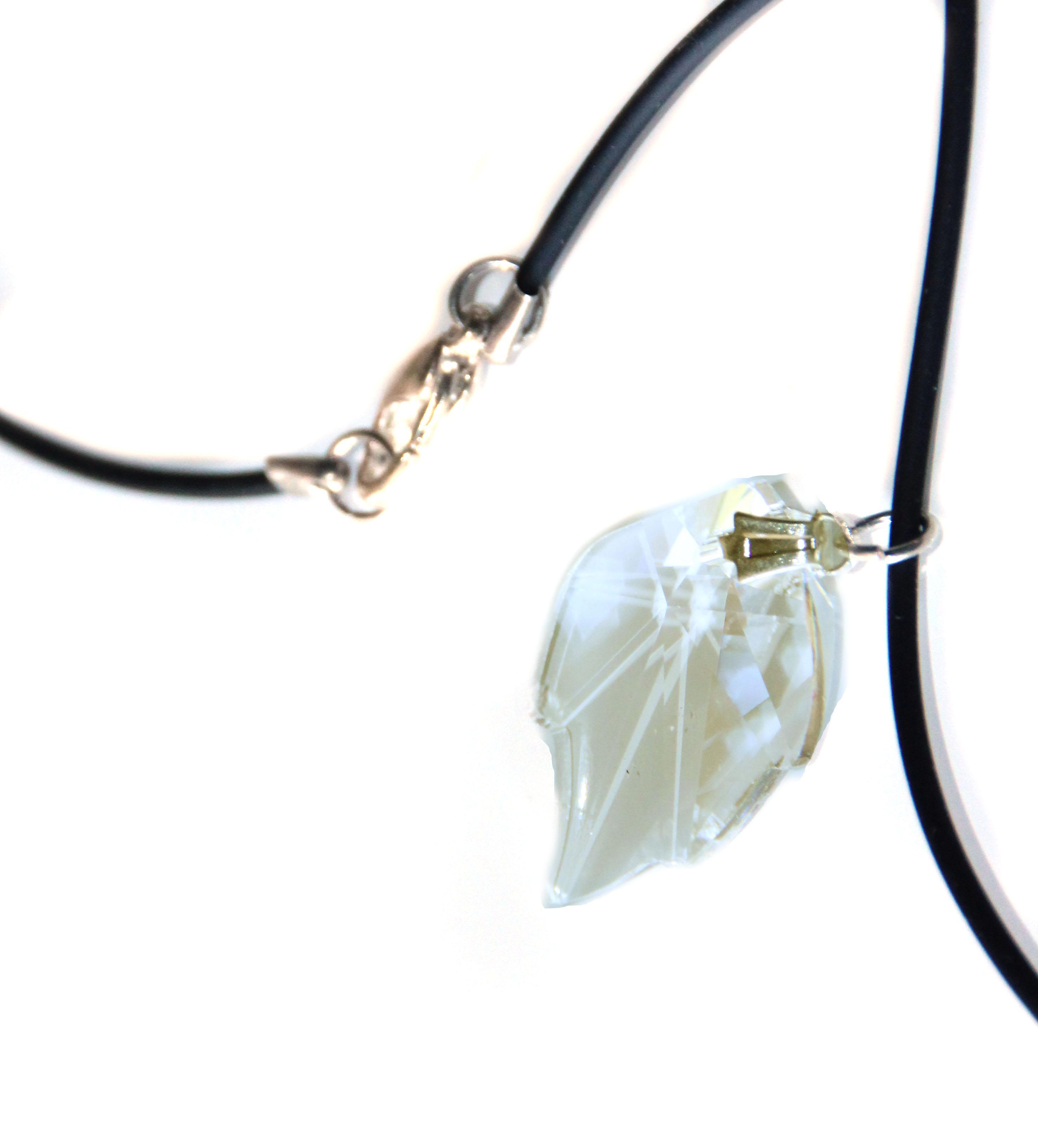 Waooh - Jewelry - Swarovski / amber pendant leaf