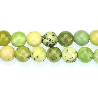 Strand 40+ Green/Black Chrysoprase 8mm Plain Round Beads GS8286-2