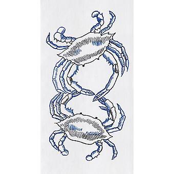 白い粉の青カニ袋キッチン タオル綿 27 インチ