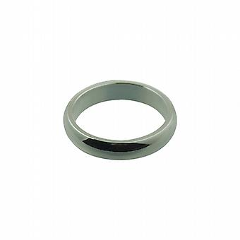 Silver 4mm plain D shaped Wedding Ring Size P