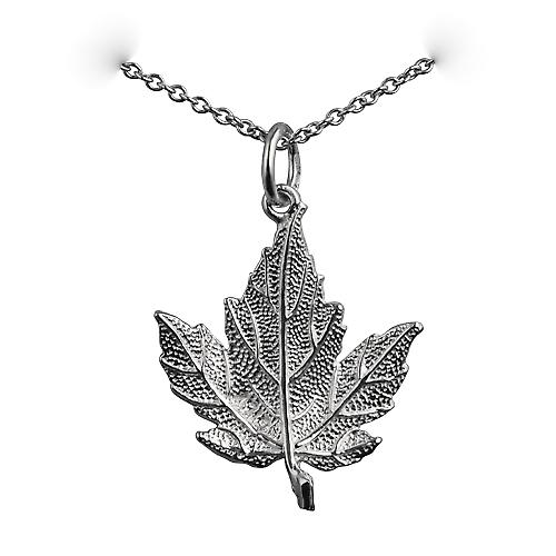 Silver 22x19mm solid Maple Leaf Pendant with a rolo Chain 18 inches