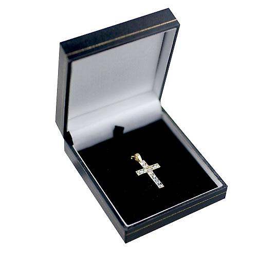 9ct Gold 25x16mm Apostle's Cross set with 12 Cubic Zirconia