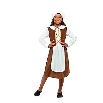 Girls Brown Tudor Girl Fancy Dress Costume